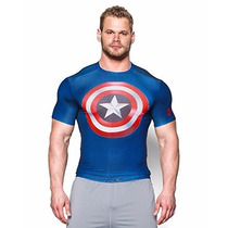 Playera De Lycra Under Armour Capitan America Nuevo