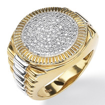 Anel Masc .1/7 Tcw Diamante Ouro 18k Sobre Prata Tam 11