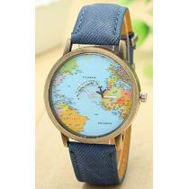 Relógio Unisex Mapa Mundi Com Avião - Frete Grátis