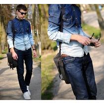 Camisa Masculina Jeans Degrade Caimento Otimo Pronta Entrega