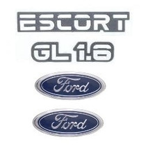 Kit Emblemas Ford Escort Gl 1.6 Até 1992 - Modelo Original