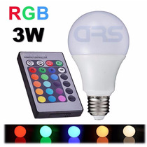 Lâmpada Bulbo Led Rgb 3w E27 Bivolt Colorida Controle Remoto