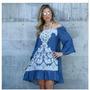 Vestido 5 Geração Azul Quinta Geração Pérola Manga Longa Omb