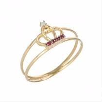 Anel Coroa Com Rubi E Diamante Ouro 18 Quilate Com Diamantes