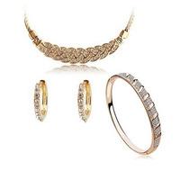 Colar + Brinco + Bracelete Feminino Dourado