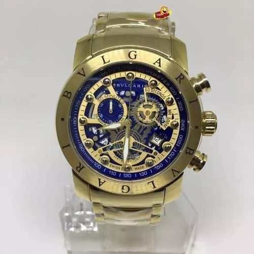 74fe4c2f0e4 Relógio X2016839 Bulgari Esqueleto Suiço Banhado A Ouro - R  358