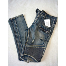 Pantalones Biker Jeans Tipo Balmain Hombre Streetwear