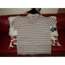 Camiseta Polo Talla 2xl Big, Cafe A Rayas, Talla Extra