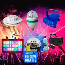 Kit Iluminação Festa Total 7x1 Laser Fumaça Strobo Bola Luz