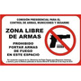 Aviso De Seguridad Prohibido Uso O Porte De Armas De Fuego