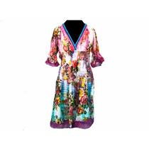 Vestido Largo De Fibrana Floreado - Ropa Hindu