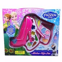 Kit Frozen Estojo Sapato Maquiagem Infantil Disney 17 Itens
