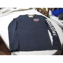 Polera Hollister California Talla M Manga Larga Color Azul