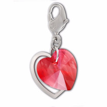 Dije Doble Corazón Swarovski Original Red Double Heart Charm
