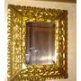 Espelho Antigo Bisotado Com Moldura Em Madeira