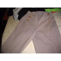 Pantalon De Vestir Beige Tiro Alto Con Botones Laterales M