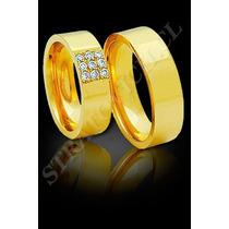 Aros De Matrimonio En Plata Pero Enchapados En Oro De 24k