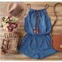 Macaquinho Jeans Feminino Curto Coração Moda Blogueiras