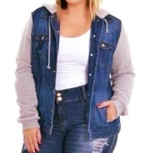 bc529dd17 Jaqueta Jeans Com Moleton Plus Size Feminina - R  120