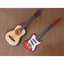 Miniatura Violão + Guitarra Coleção Enfeite Decoração
