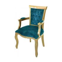 Cadeira De Jantar Luis Xv Capitonê Com Braço - Wood Prime