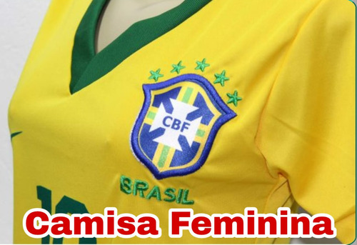 9128213d1d266 Camisa Feminina Baby Look Brasil Copa Russia 2018 Barato - R  39