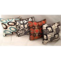 Paquete 4 Cojines Decorativos Para Sala Minimalista Moderna