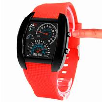 Reloj Hombre Aviador Velocímetro F50 Led Binario Rojo
