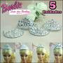 Kit Lote C/ 5 Coroa * Diferentes * P/ Boneca Barbie Princesa