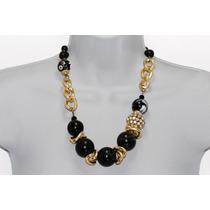 Collar Moda Perlas Negras Cadena Dorada, Cristales Y Aretes