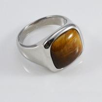 Anel Aço Inox Com Pedra Natural Olho De Tigre Tam. 25