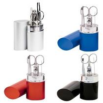 Set De Manicure Bala. Estuche De Aluminio Y 4 Accesorios