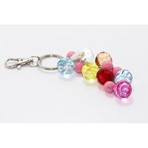 Llavero Fino Esferas Cristales Biselados Multicolores Llf58