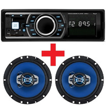 Auto Radio Mp3 Usb Sd Card Aux + Par Alto Falante 6 Pol 130w