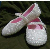 Sapato Infantil Customizado Com Pérolas Em Vários Tamanhos