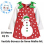 Vestido Infantil Boneco De Neve Festa Natal Bebê Criança