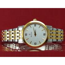 Relógio Bulova 98p115 Original, 2 Tom, 4 Diamantes No Visor