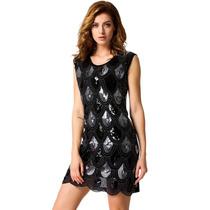 Vestido De Fiesta Negro Con Lentejuelas Talla M Nuevo Stock