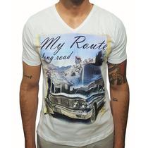 Camiseta Algodão Gola V Masculina Estampada Carro