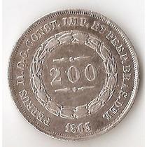 Brasil Imperio, 200 Reis, 1863. Plata. Casi Sin Circular
