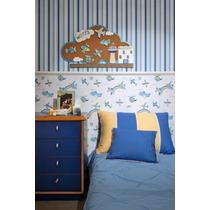 Papel De Parede Infantil Menino Listras Azul