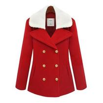 Moda Japonesa Abrigo Corto Rojo Cuello Blanco Grande Amyglo