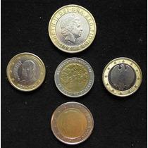 Lote De Bimetálicas. 2 Libras Esterlinas, 4 Euros Y 500 Peso