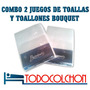 Combo X 2 Juegos De Toalla Y Toallon Bouquet 100% Alg Blanco