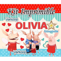 Kit Imprimible Olivia La Chanchita + Candy Bar Fiesta