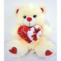 Urso De Pelúcia Coração 30cm Amor Eu Te Amo Varias Cores
