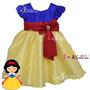 Vestido Fantasia Infantil Branca De Neve Com Faixa Brinde