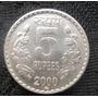 Moeda Da India 5 Rupias 2000 Niquel Bonita