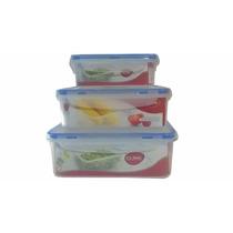 Jogo C/ 3 Potes Herméticos P/ Mantimentos/alimentos Plástico