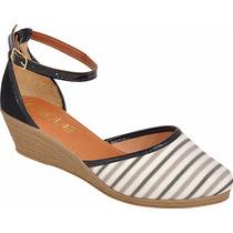 Sapato Sandalia Salto Anabela Feminina Espadrille Salome